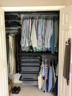 Mens clothes in closet- Follow my 3 Commandments of Closet Organization, starting with Thou Shalt Not Use Wire Hangers. www.SageOrganizingCo.com